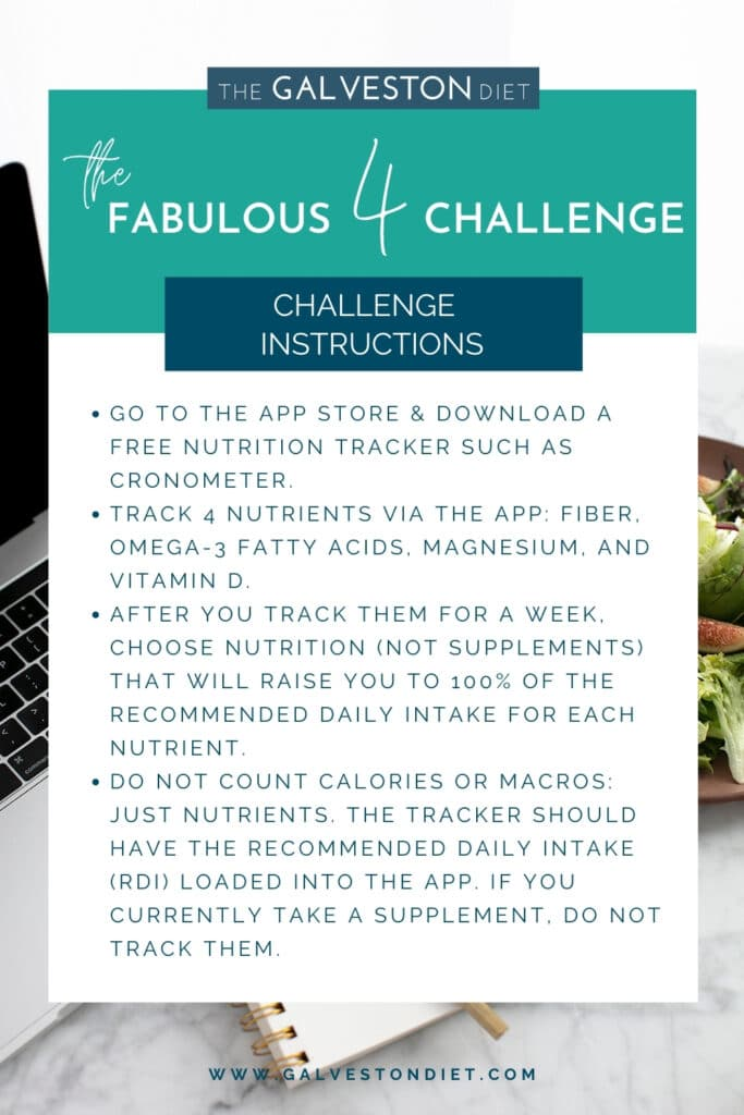 """A graphic with the title """"The Fabulous 4 Challenge Instructions"""" that repeats the instructions from the paragraph above in a visual format."""