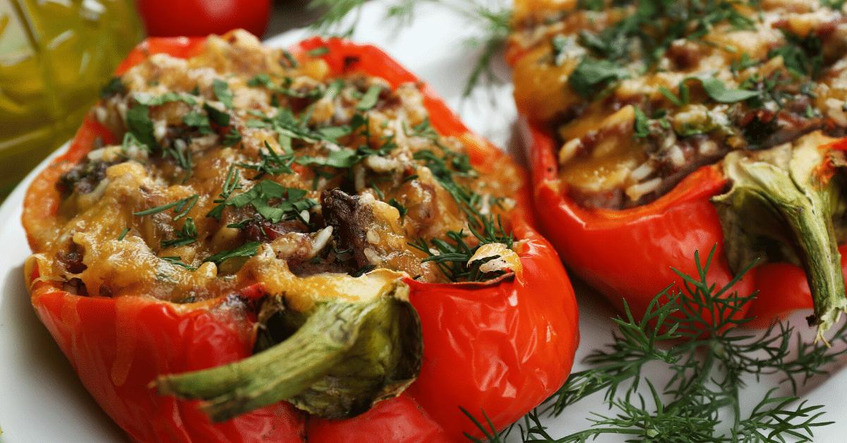 Stuffed Peppers Turkey and Cauliflower Rice