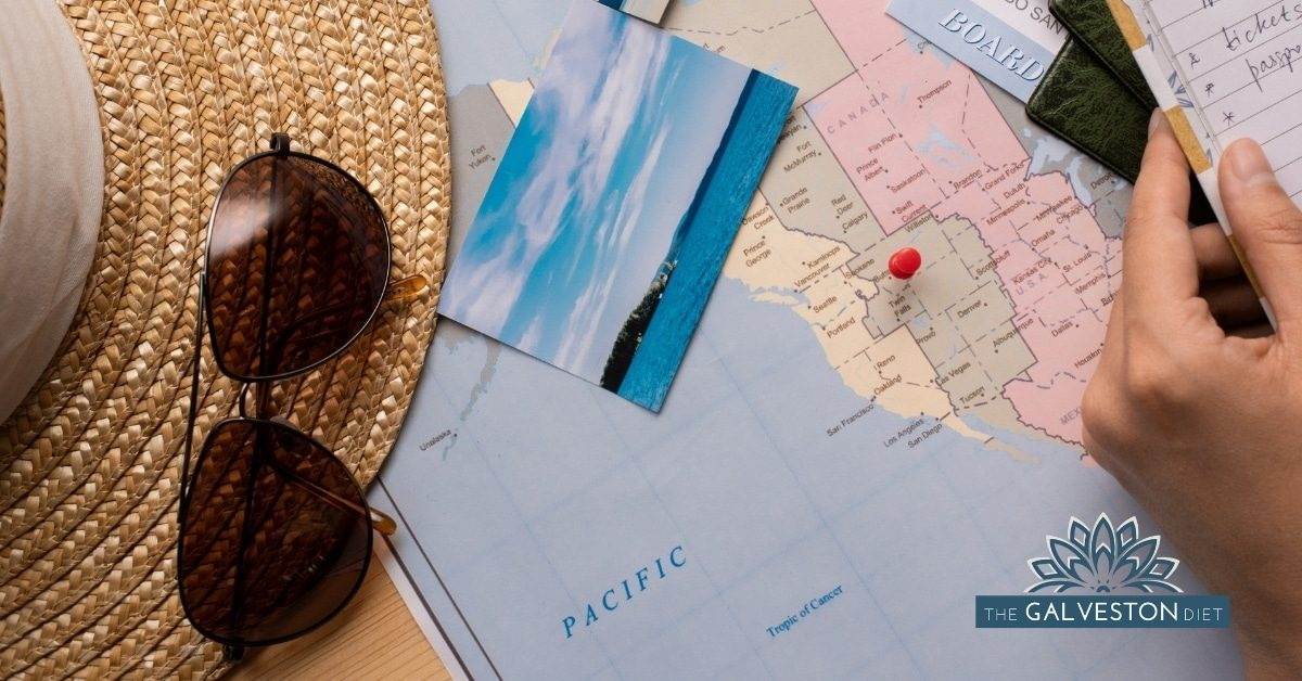 Featured image for the Healthy Travel tips blog post of a map with a printed photo on top as well as a sun hat and some sunglasses.